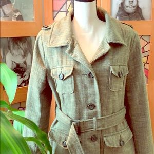 Army green wool trench coat